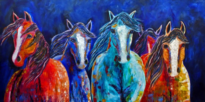 Nighttime Rendezvous - Painting by Jennifer Morrison
